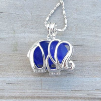 Deep Blue Sea Glass Elephant Locket Necklace by WaveofLife
