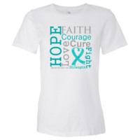 Ovarian Cancer Hope Faith Motto shirts, apparel and gifts featuring a teal ribbon to call attention to the importance of awareness for Ovarian Cancer brought to you by  cancer survivors and advocates at  Ovar