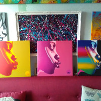 Pop art set of 3 african woman,the kiss series,stencils & spraypaints on square  canvas,afro,rainbow,handmade,urban,graffiti,pleasure,home