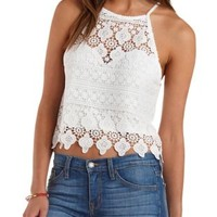 White Racer Front Crochet Crop Top by Charlotte Russe