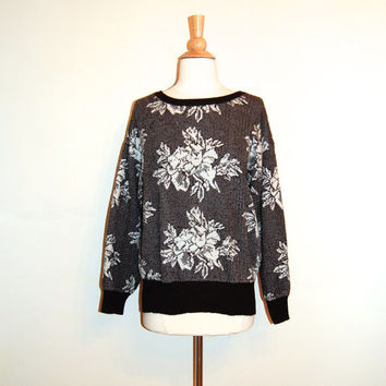 80s Sweater . Black and White Sweater . Floral . Grunge Goth Retro . size S M