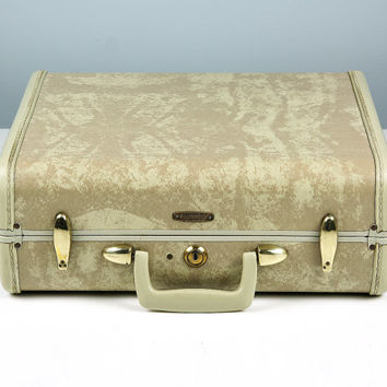 Samsonite Suitcase Marbled Finish / Mid Century Luggage for Him / Blonde Luggage / Stackable Luggage Home Decor / Travel Decor