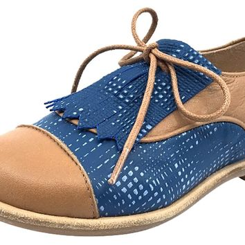 Manuela de Juan Boy's and Girl's Tan and Blue Diana Oxford
