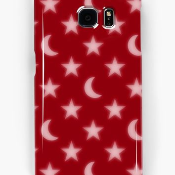'Red moons and stars pattern' Samsung Galaxy Case/Skin by steveball