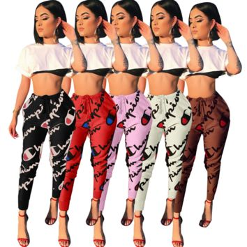 Champion Women Fashion Print Sport Stretch Pants Trousers Sweatpants Joggers G