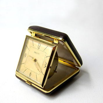 Vintage mid century retro gold face Empire Equity travelling alarm clock