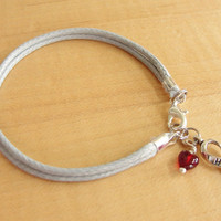 """Diabetes Awareness Bracelet - Gray Cotton with Red Drop of """"Blood"""""""