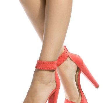 Coral Faux Suede Ankle Strap Chunky Platform Heels @ Cicihot Heel Shoes online store sales:Stiletto Heel Shoes,High Heel Pumps,Womens High Heel Shoes,Prom Shoes,Summer Shoes,Spring Shoes,Spool Heel,Womens Dress Shoes