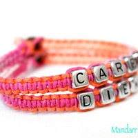 Sherbert Carpe Diem Bracelets, Set of Two, Pink and Orange, Macrame Hemp Jewelry, Hand Knotted Gift for Her