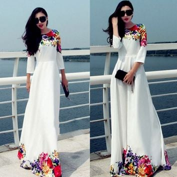 White Floral Print Lace Sleeve Maxi Dress