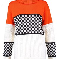 Ashleigh Motorcross Colour Block Knitted Jumper | Boohoo