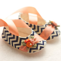 Baby Shoes, Free Personalization, Navy Chevron with Peach and Orange Details