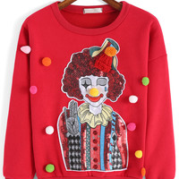 Red Clown Pattern Sequined Long Sleeve Sweatshirt