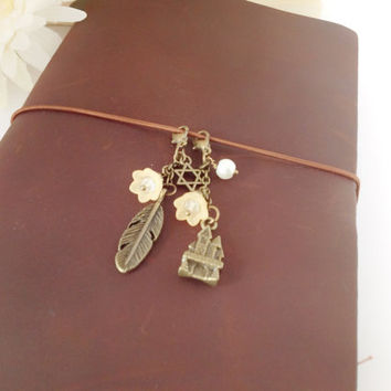A Set of 2 Midori Traveler Notebook Charm, A Zipper Pull or Bag Charm