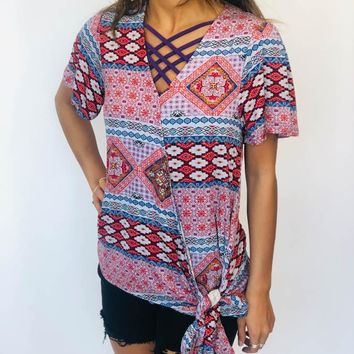 V-Neck Top - Multi-colored