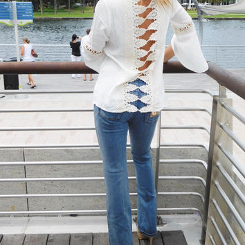Bell Sleeve Boho Top with Crochet Lace