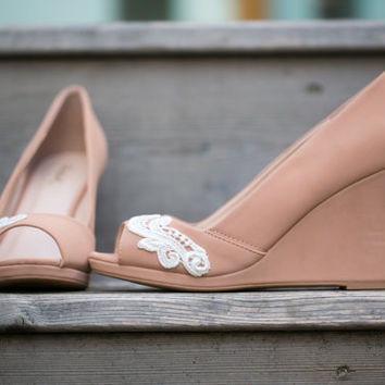 Wedding Shoes -  Nude Peep-Toe Wedge, Nude Wedding Heels, Nude Wedges, Bridal Shoes with Ivory Lace. US size 8.5