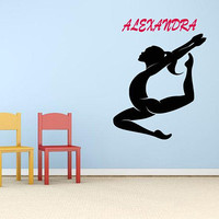 Gymnast Wall Decal, Custom Name Wall Decal, Gymnastics Decor, Personalized Girls Room, Flying Girl Decal, Personalized Name, Kids Art  nm057