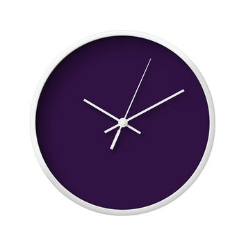 Solid Color Wall Clock, 5 Color Options, Purple, Green, Turquoise, Blue, Storm, Vintage Wall Clock, Modern Wall Clock, Wood Clock, Minimal