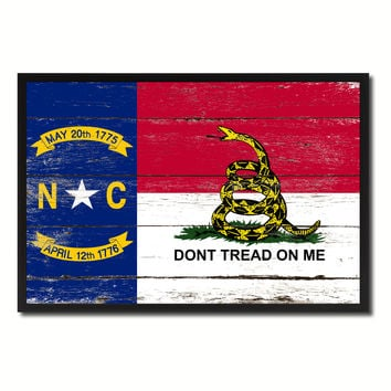 Gadsden Don't Tread On Me North Carolina State Military Flag Vintage Canvas Print with Picture Frame Home Decor Man Cave Wall Art Collectible Decoration Artwork Gifts