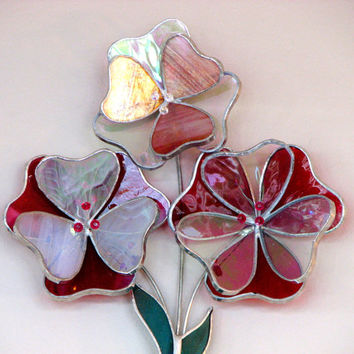 3d Wall Flowers Cranberry Pink and White with Swarovski Crystals and Rhinestones, Stained Glass Suncatcher with 3d Flowers, Home Decor, Pink
