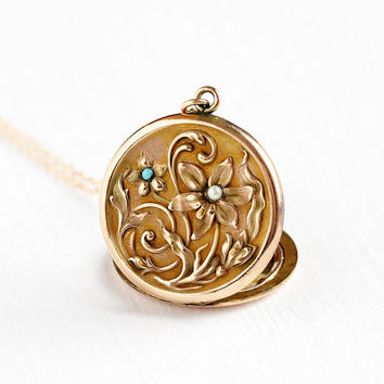 Antique Art Nouveau Flower Locket Pendant Necklace - Vintage Edwardian 1900s Gold Filled Floral Monogrammed Seed Pearl Blue Glass Jewelry