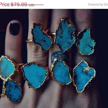 ON SALE LUX Divine /// Turquoise and Gold /// Stackable Gemstone 24kt Gold Electroformed Ring