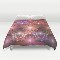 Bed Of Flowers Abstract, Fractal Art Duvet Cover by Gabiw Art