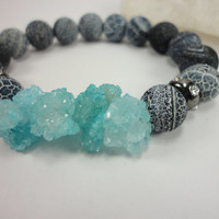 Black Agate Gemstone and Aqua Druzy Beaded Stacking Bracelet/Efflorescence Agate