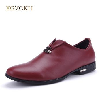 Casual men oxfords slip-on business genuine leather shoes Fashion pointer toe solid flats Casual men shoes