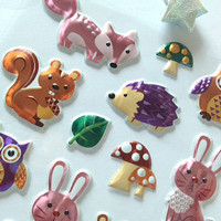 Cute 3d animal sticker baby owl shinny pink rabbit lovely baby animal puffy sticker Forest Garden Mushroom party scrapbook diary sticker