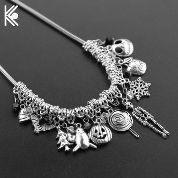 Nightmare Before Christmas Choker Necklace & Pendants with Snake Chain Bats Skulls Snowflakes Crystal Beads Charm Accessories