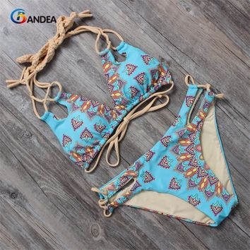 BANDEA women bikini set vintage swimsuit women halter top swimwear cut out bathing suit print swimming suit for women HA016