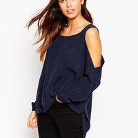ASOS Chunky Jumper With Cold Shoulder And Side Splits