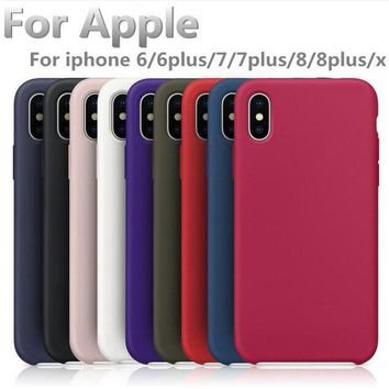 Official style have LOGO Silicone Case For Apple iphone 7 8 Plus iPhone 6 6s Plus original Cover For iPhone X 5 SE phone cases