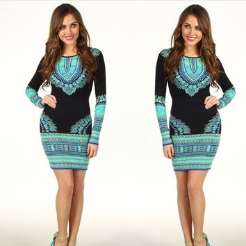 Printed Long-Sleeve Bodycon Dress