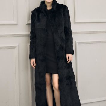 Women Faux Fur Coat Long Overcoat for Winter Faux fox fur stand Collar coat Pure white, pure black Plus Size S - XXXL
