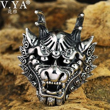 V.YA Dragon King Head Thai Silver Rings For Men Rock Style Real 925 Sterling Silver Big Size Ring Men's Party Jewelry
