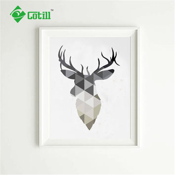 Cotill Geometric Deer Head Canvas Painting Pictures Wall Art Pictures On The Wall NO Frame Home Decor Picture Canvas Poster