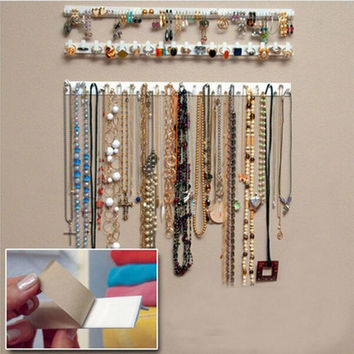 9 in 1 Adhesive Jewelry earring necklace hanger holder Organizer packaging Display jewelry rack sticky hooks Wall Mount stand