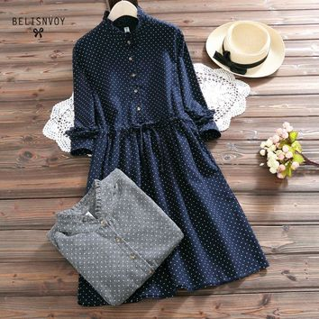 Mori Girl Spring Women Dresses Stand Collar Elbise Long Sleeve Vintage Dress Polka Dot Printed Femininos Vestidos