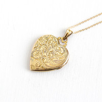 Vintage Gold Filled Floral Vine Heart Locket Necklace - 1940s WWII Era Sweetheart Etched Floral Romantic Jewelry, Original Photographs
