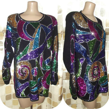 Vintage 80s Avant Garde SEQUIN Angora Sweater Mini Dress M/L Mardi Gras