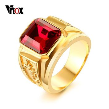 Vnox Punk Dragon Ring for Men Red Blue Black CZ Stone Stainless Steel Gold Color Male Alliance Casual Jewelry
