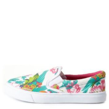 White Combo Floral Print Canvas Slip-On Sneakers by Charlotte Russe
