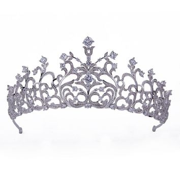 2017 Hot New Fabulous Luxurou Gorgeous Twigs Royal Tiaras And Crowns All Zirconia Zircon Silver AAA CZ for Wedding Men