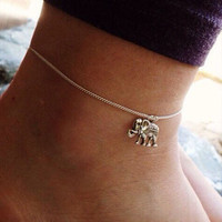 Bohemian Turkish Silver Color Elephant Anklets