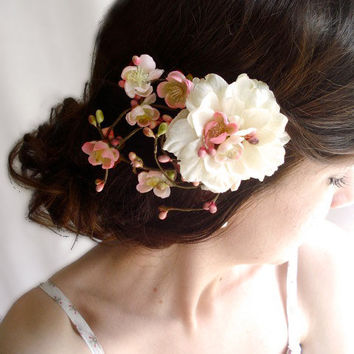 bridal flower hair clip, ivory wedding hair accessories, hair accessory, blush pink bridal headpiece - ETOLIA - cherry blossom hair clip