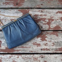 Vintage Navy Blue Clutch with Gold Chain Strap and Hardware