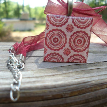 Red Flower A pendant charm necklace made from a wood by KKMaries